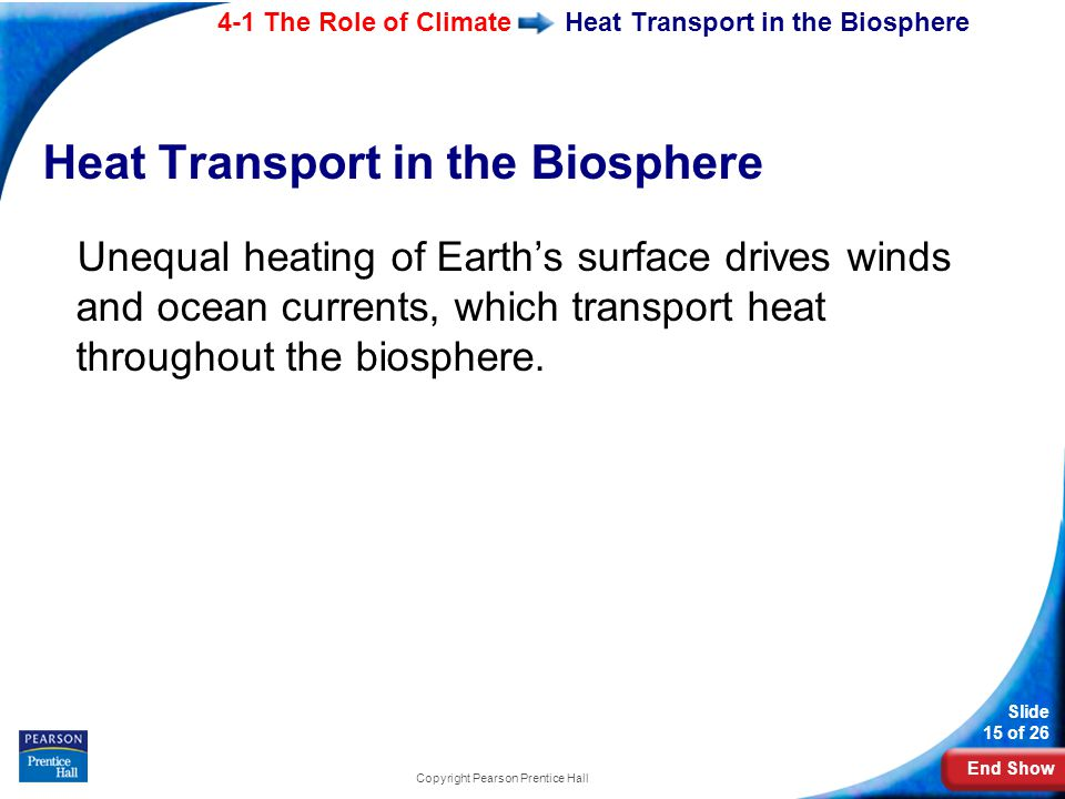 End Show 4-1 The Role of Climate Slide 15 of 26 Copyright Pearson Prentice Hall Heat Transport in the Biosphere Unequal heating of Earth's surface dri
