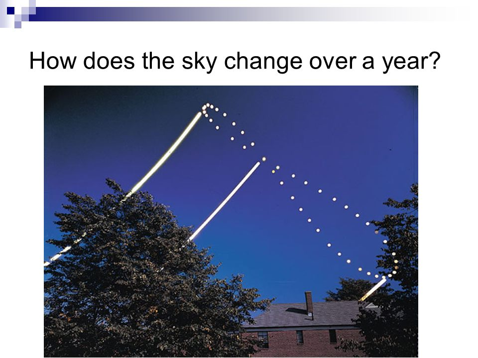 How does the sky change over a year?