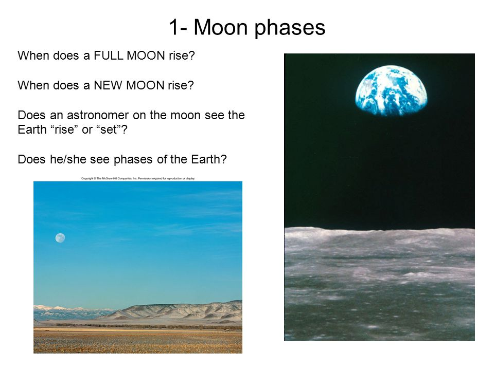 "When does a FULL MOON rise? When does a NEW MOON rise? Does an astronomer on the moon see the Earth ""rise"" or ""set""? Does he/she see phases of the Ear"