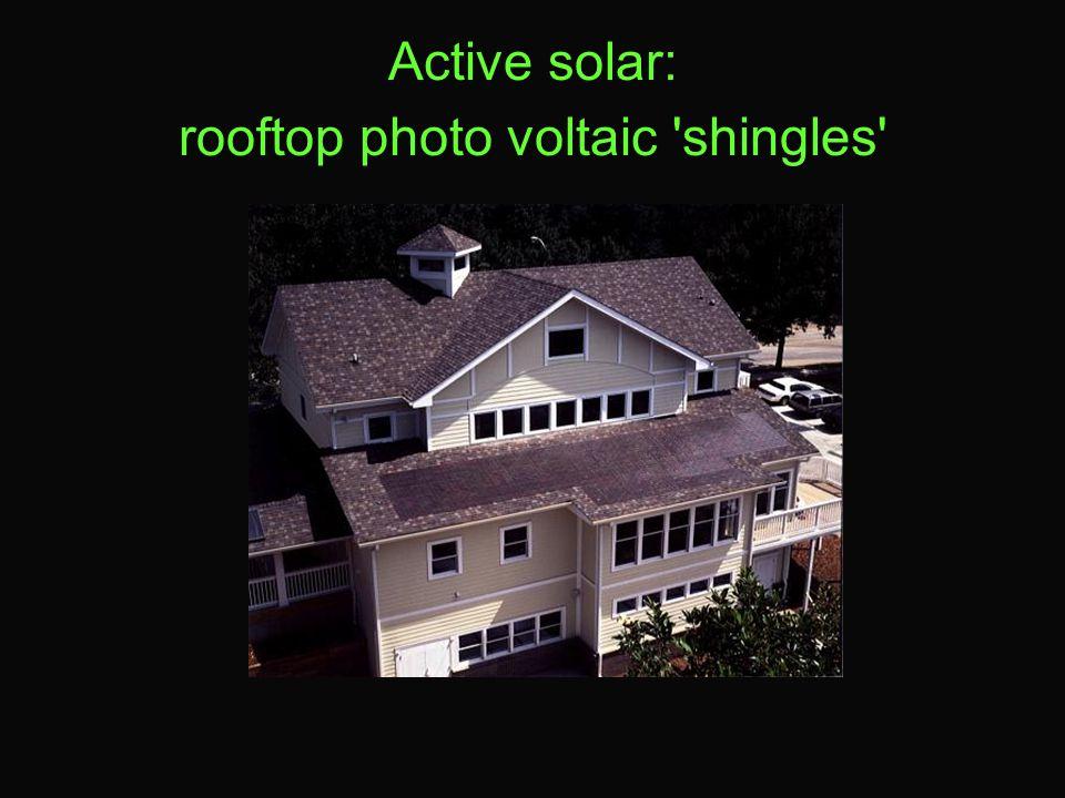 Active solar: rooftop photo voltaic shingles