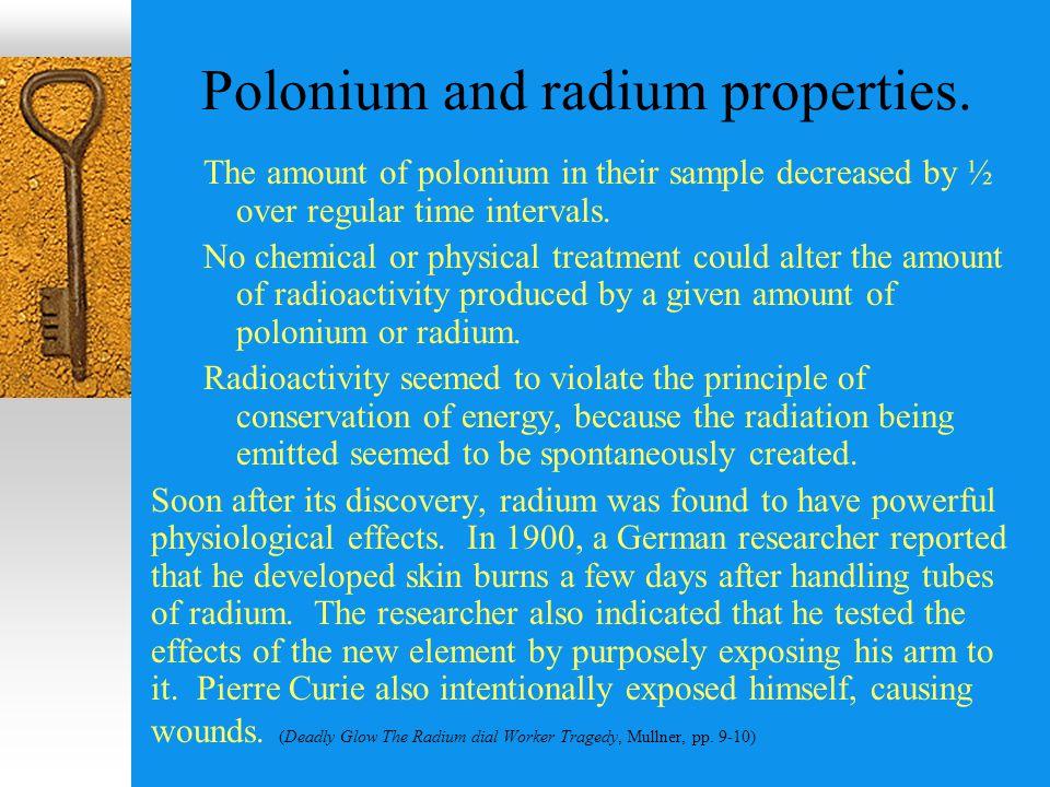 Polonium and radium properties.
