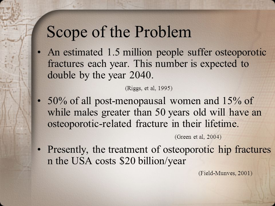 Scope of the Problem An estimated 1.5 million people suffer osteoporotic fractures each year. This number is expected to double by the year 2040. (Rig