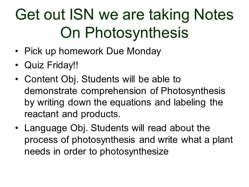 What three things are needed by plants in order for photosynthesis to occur?
