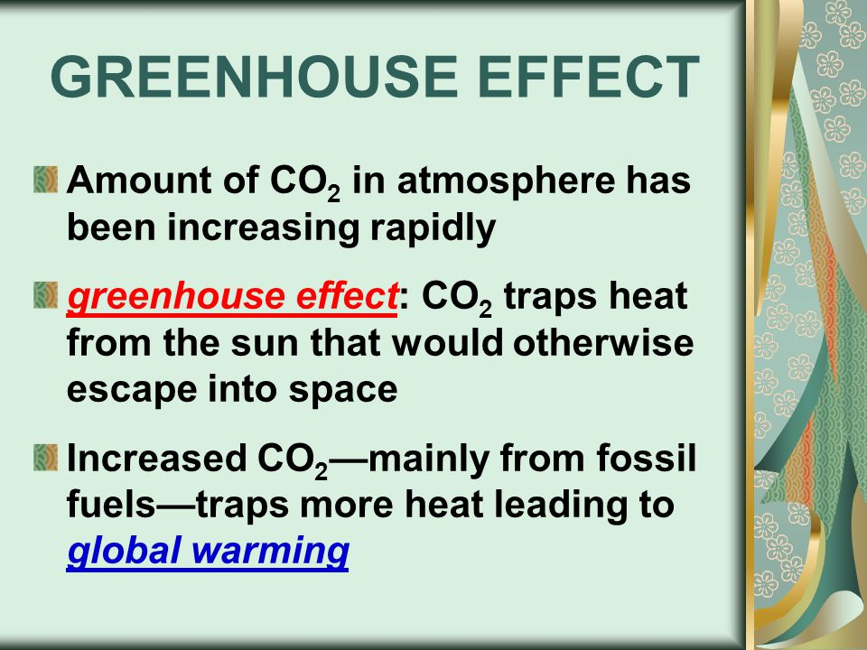 GREENHOUSE EFFECT Amount of CO 2 in atmosphere has been increasing rapidly greenhouse effect: CO 2 traps heat from the sun that would otherwise escape into space Increased CO 2 —mainly from fossil fuels—traps more heat leading to global warming