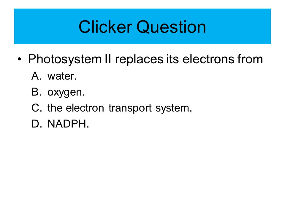 Clicker Question Photosystem II replaces its electrons from A.water. B.oxygen. C.the electron transport system. D.NADPH.