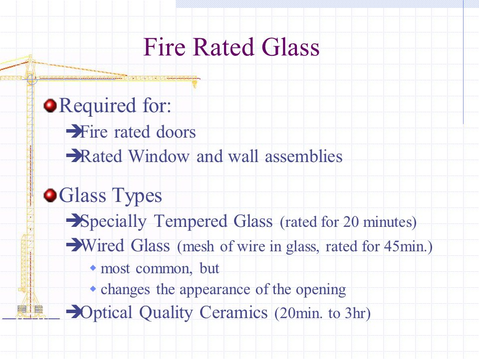Fire Rated Glass Required for:  Fire rated doors  Rated Window and wall assemblies Glass Types  Specially Tempered Glass (rated for 20 minutes)  Wired Glass (mesh of wire in glass, rated for 45min.)  most common, but  changes the appearance of the opening  Optical Quality Ceramics (20min.