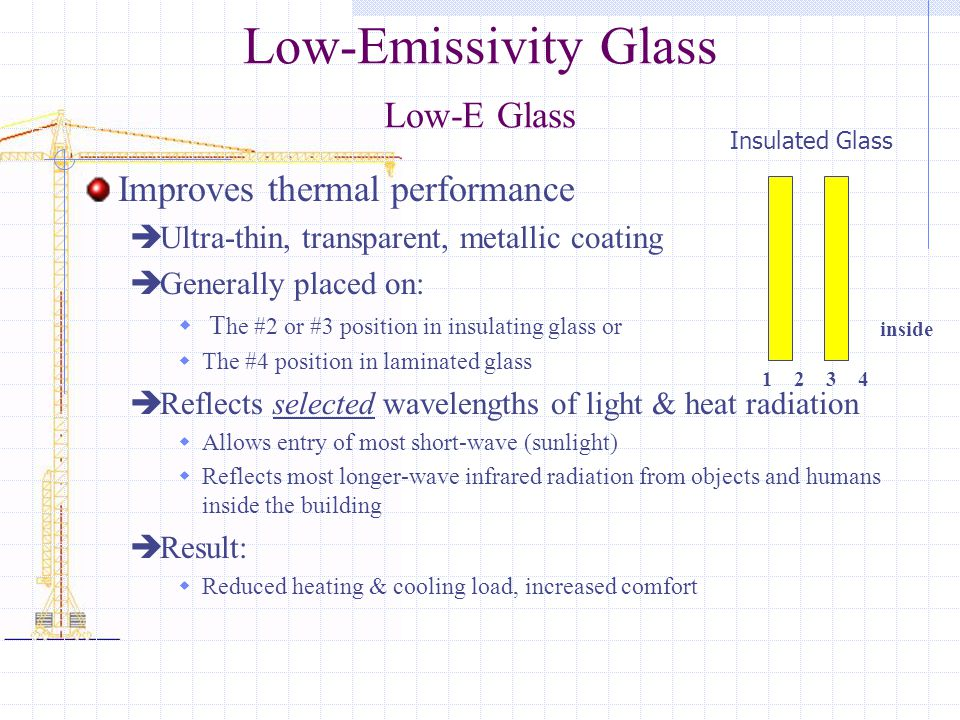 Low-Emissivity Glass Low-E Glass Improves thermal performance  Ultra-thin, transparent, metallic coating  Generally placed on:  T he #2 or #3 position in insulating glass or  The #4 position in laminated glass  Reflects selected wavelengths of light & heat radiation  Allows entry of most short-wave (sunlight)  Reflects most longer-wave infrared radiation from objects and humans inside the building  Result:  Reduced heating & cooling load, increased comfort inside 4321 Insulated Glass