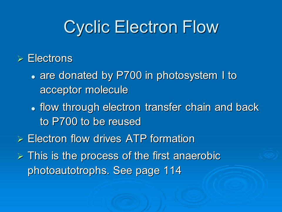Cyclic Electron Flow  Electrons are donated by P700 in photosystem I to acceptor molecule are donated by P700 in photosystem I to acceptor molecule f