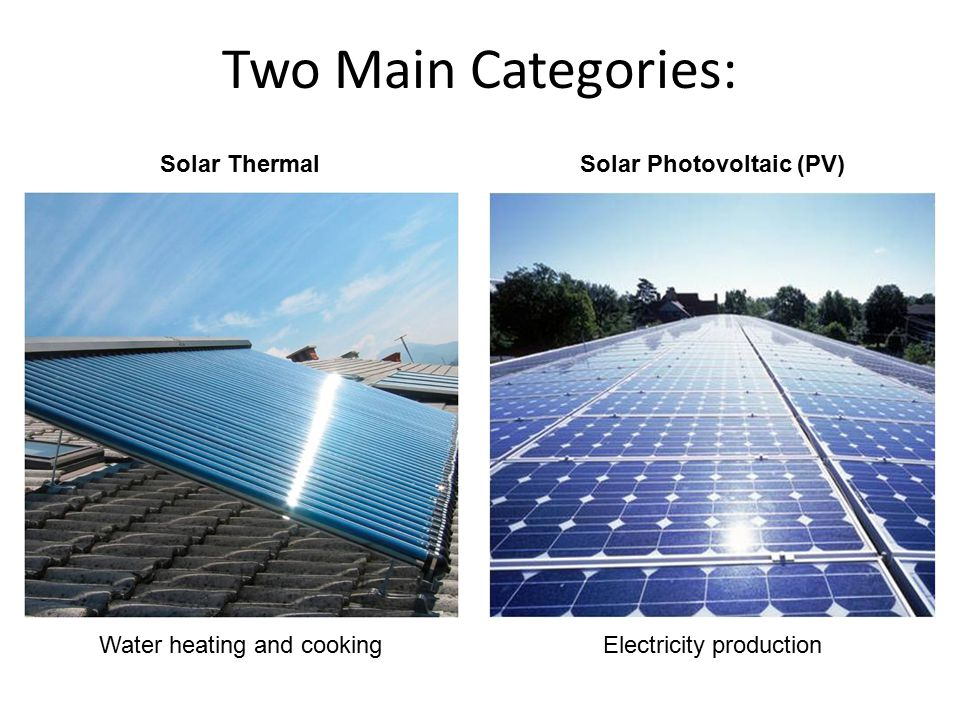 Two Main Categories: Solar ThermalSolar Photovoltaic (PV) Water heating and cookingElectricity production