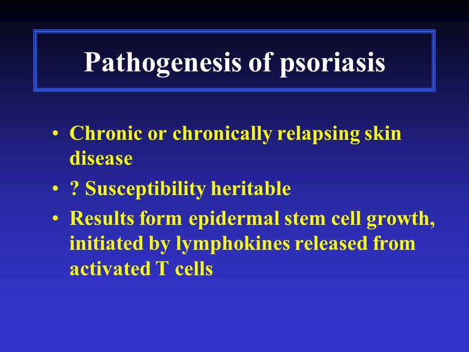 Pathogenesis of psoriasis Chronic or chronically relapsing skin disease .
