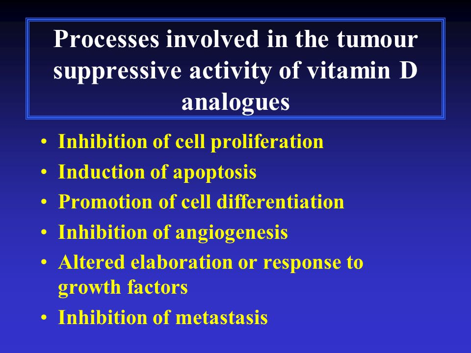 Processes involved in the tumour suppressive activity of vitamin D analogues Inhibition of cell proliferation Induction of apoptosis Promotion of cell
