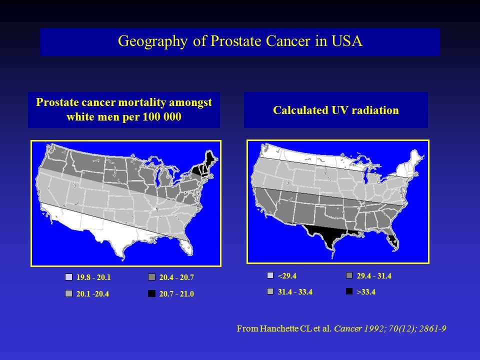 20.7 - 21.020.1 -20.4 19.8 - 20.120.4 - 20.7 Prostate cancer mortality amongst white men per 100 000 >33.431.4 - 33.4 <29.429.4 - 31.4 Calculated UV radiation From Hanchette CL et al.