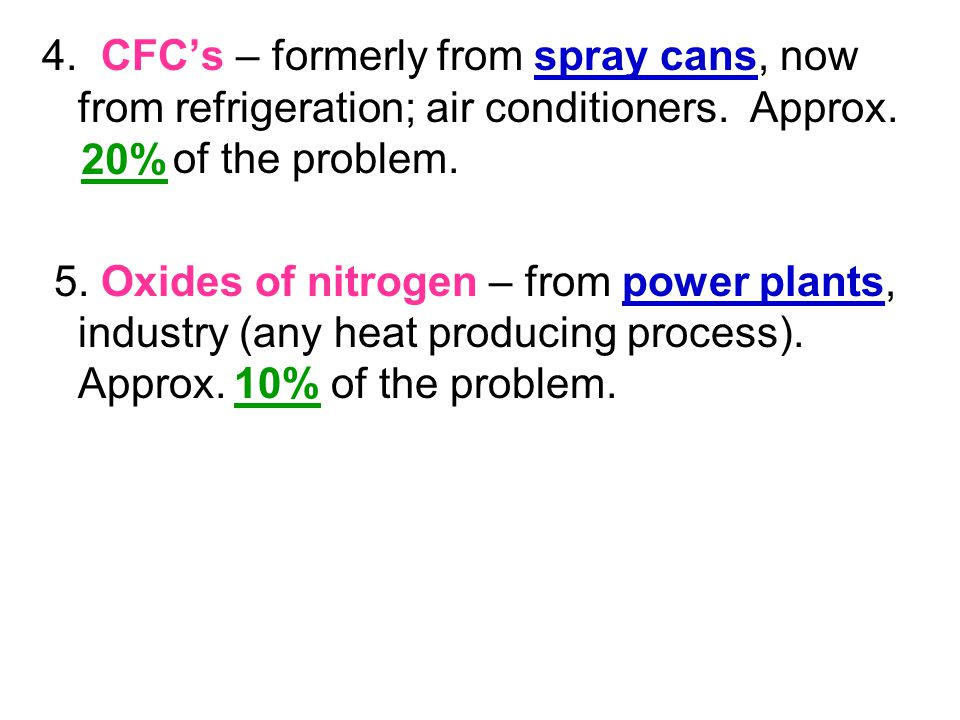 4. CFC's – formerly from spray cans, now from refrigeration; air conditioners. Approx. of the problem. 5. Oxides of nitrogen – from power plants, indu