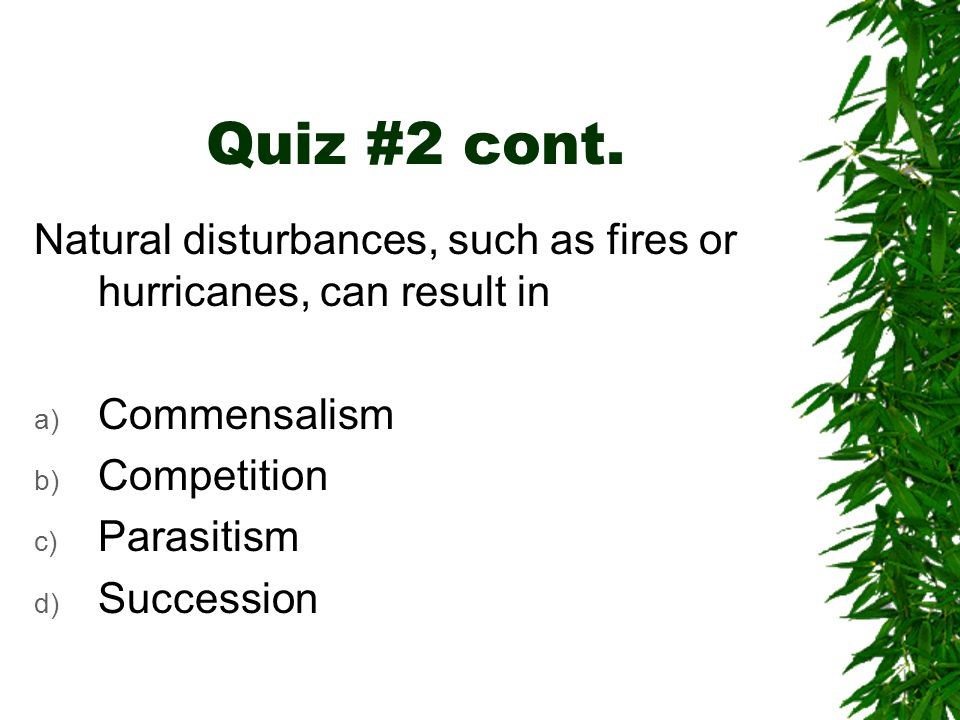 Quiz #2 cont. Natural disturbances, such as fires or hurricanes, can result in a) Commensalism b) Competition c) Parasitism d) Succession