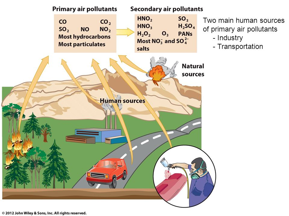 Two main human sources of primary air pollutants - Industry - Transportation