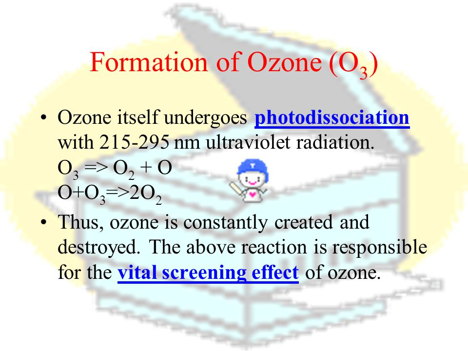 Formation of Ozone (O 3 ) Ozone [O 3 (g)] is a pale blue gas (exists in the stratosphere of our atmosphere as the ozone layer). It is formed from atmo