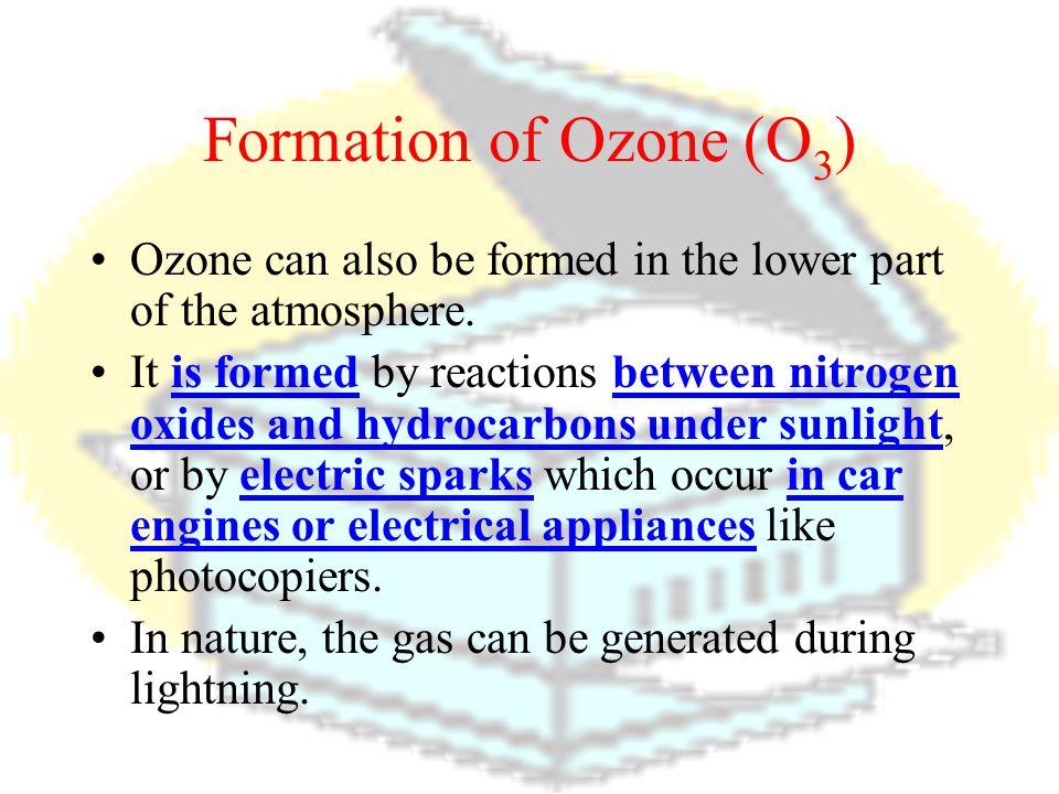 Formation of Ozone (O 3 ) Ozone itself undergoes photodissociation with 215-295 nm ultraviolet radiation. O 3 => O 2 + O O+O 3 =>2O 2 Thus, ozone is c