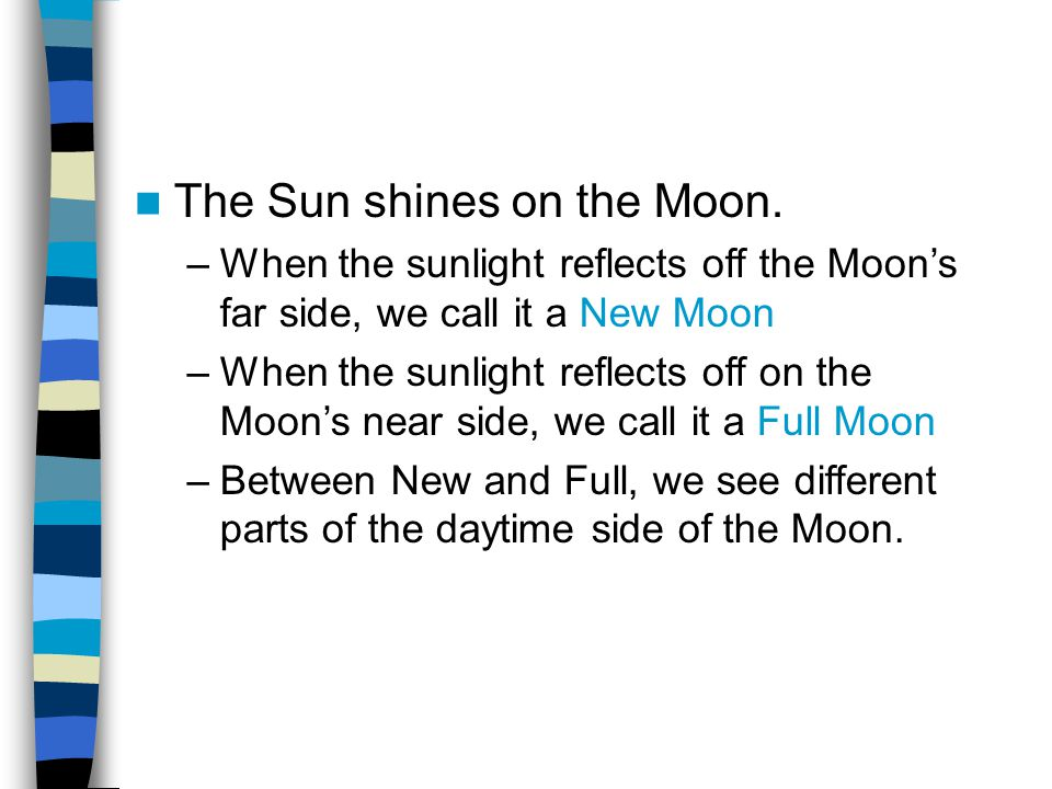 The Sun shines on the Moon. –When the sunlight reflects off the Moon's far side, we call it a New Moon –When the sunlight reflects off on the Moon's n