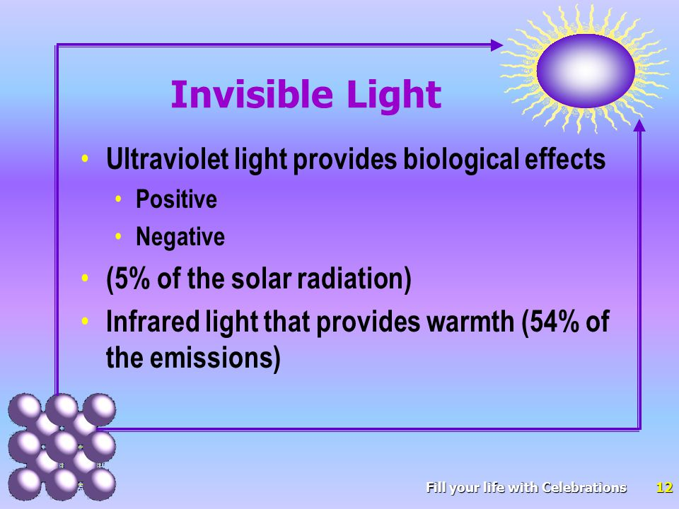 12 Invisible Light Ultraviolet light provides biological effects Positive Negative (5% of the solar radiation) Infrared light that provides warmth (54% of the emissions)