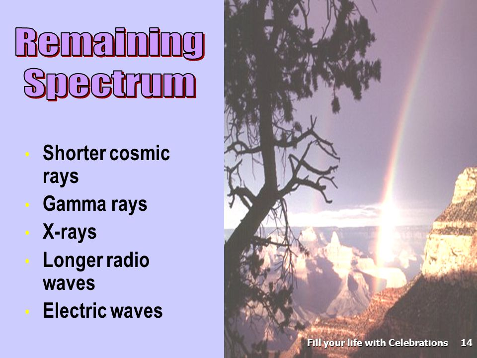 Shorter cosmic rays Gamma rays X-rays Longer radio waves Electric waves Fill your life with Celebrations 14
