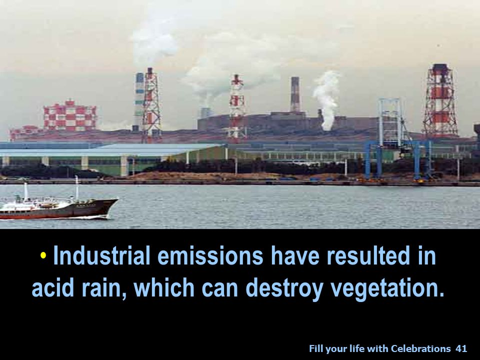 Fill your life with Celebrations41 Industrial emissions have resulted in acid rain, which can destroy vegetation.