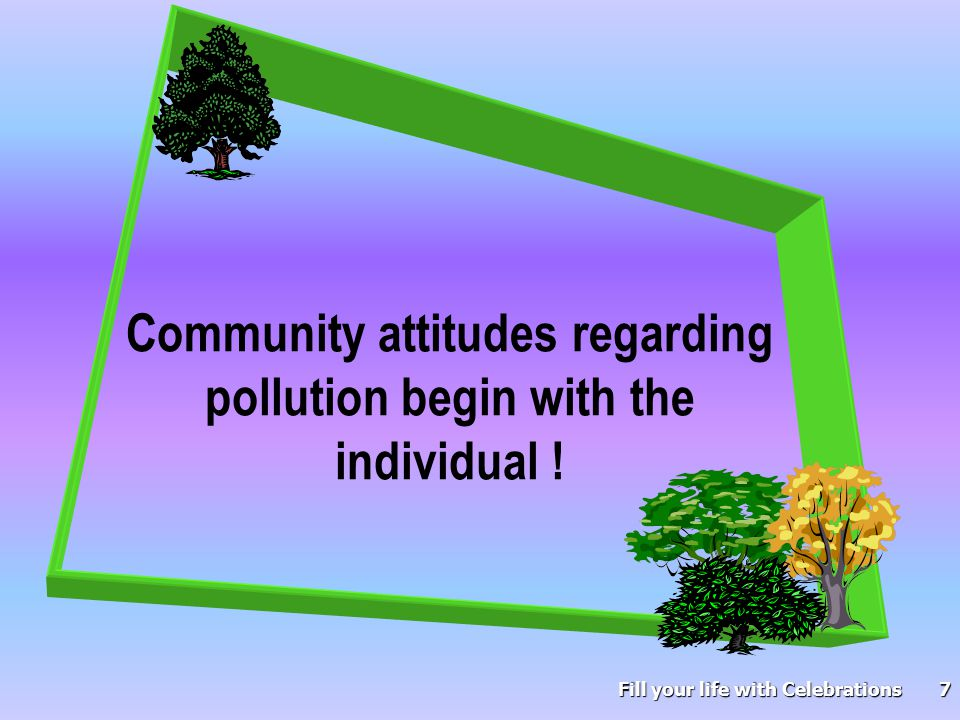8 Without a pleasant environment our health and survival will be negatively impacted.