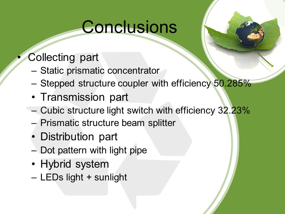Conclusions Collecting part –Static prismatic concentrator –Stepped structure coupler with efficiency 50.285% Transmission part –Cubic structure light