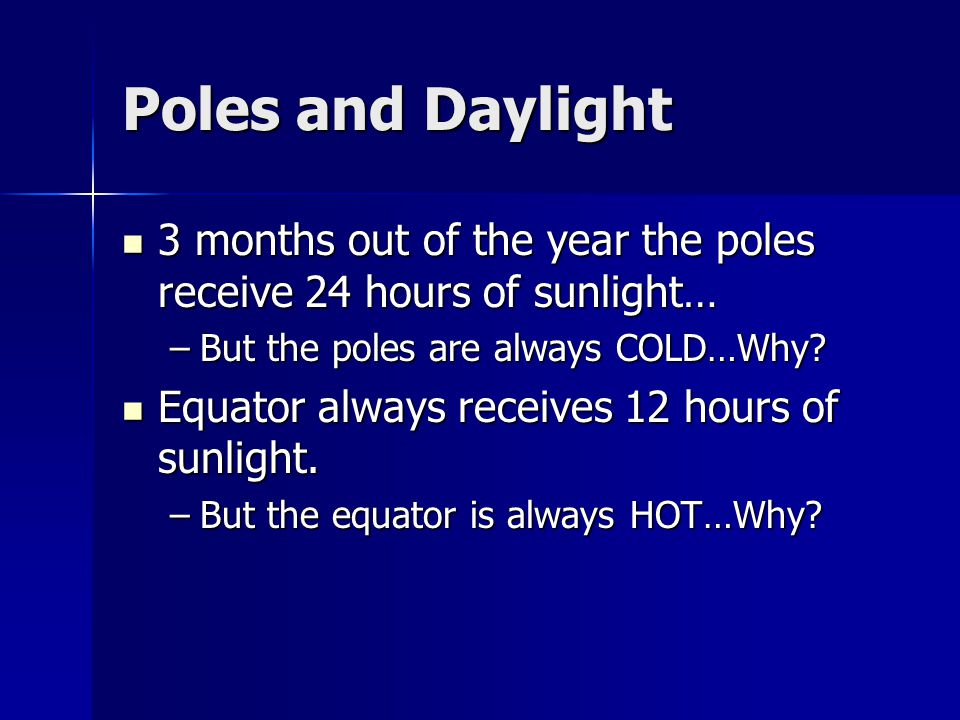 Poles and Daylight 3 months out of the year the poles receive 24 hours of sunlight… 3 months out of the year the poles receive 24 hours of sunlight… –But the poles are always COLD…Why.
