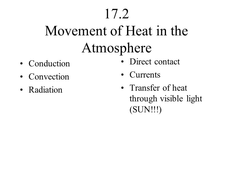 17.2 Movement of Heat in the Atmosphere Conduction Convection Radiation Direct contact Currents Transfer of heat through visible light (SUN!!!)