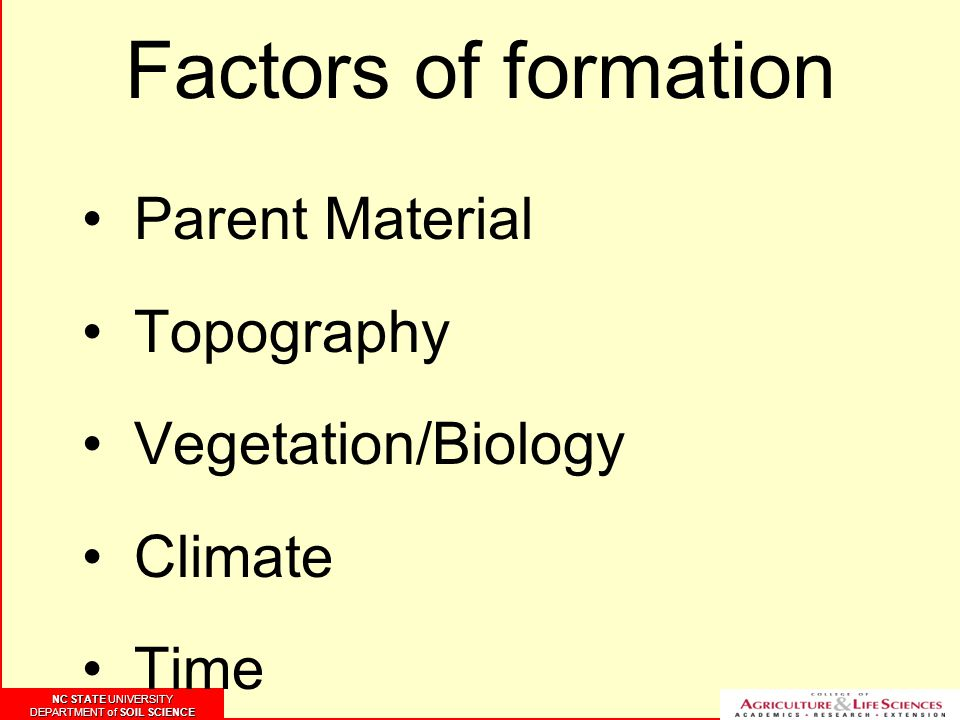 NC STATE UNIVERSITY DEPARTMENT of SOIL SCIENCE NC STATE UNIVERSITY DEPARTMENT of SOIL SCIENCE Factors of formation Parent Material Topography Vegetation/Biology Climate Time