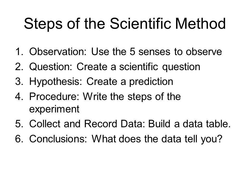 Steps of the Scientific Method 1.Observation: Use the 5 senses to observe 2.Question: Create a scientific question 3.Hypothesis: Create a prediction 4.Procedure: Write the steps of the experiment 5.Collect and Record Data: Build a data table.