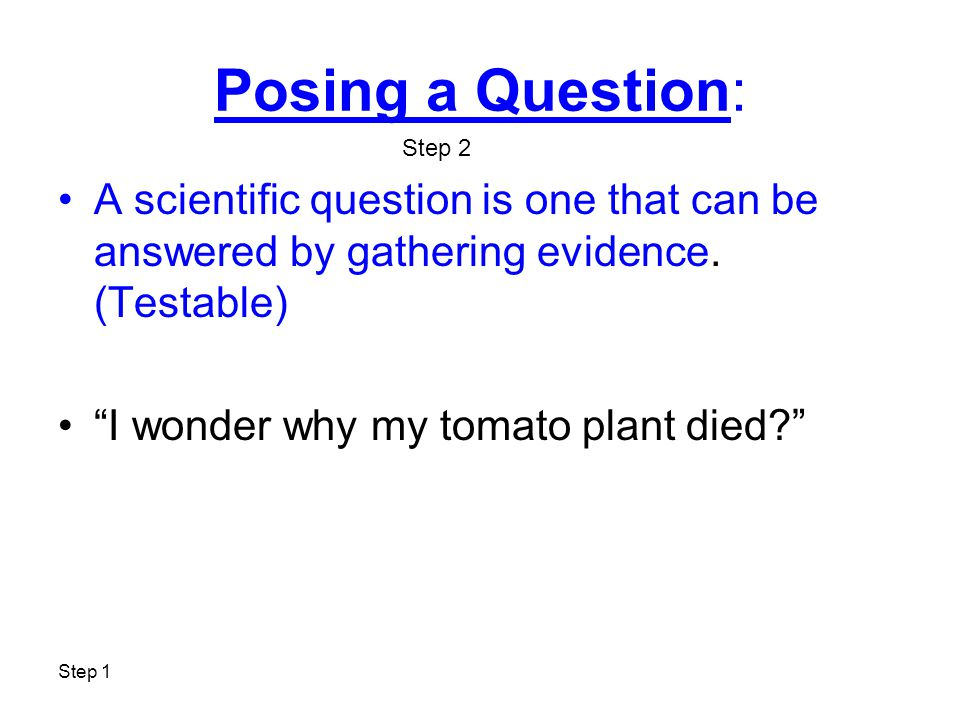 "Posing a Question: A scientific question is one that can be answered by gathering evidence. (Testable) ""I wonder why my tomato plant died?"" Step 2"