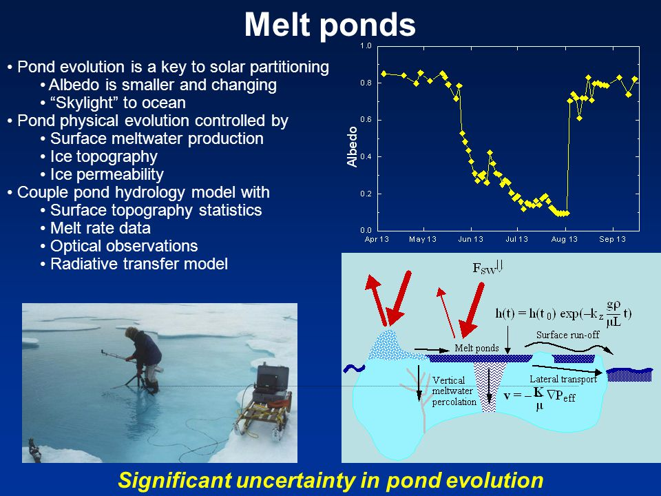 Melt ponds Pond evolution is a key to solar partitioning Albedo is smaller and changing Skylight to ocean Pond physical evolution controlled by Surface meltwater production Ice topography Ice permeability Couple pond hydrology model with Surface topography statistics Melt rate data Optical observations Radiative transfer model Significant uncertainty in pond evolution