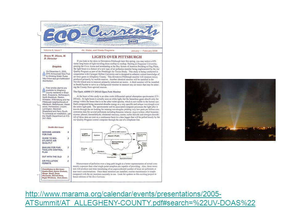 Eco-Currents http://www.marama.org/calendar/events/presentations/2005- ATSummit/AT_ALLEGHENY-COUNTY.pdf#search=%22UV-DOAS%22