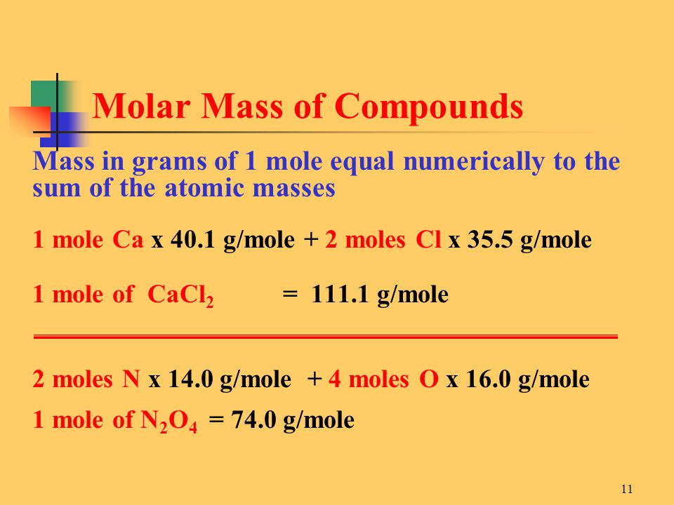 11 Mass in grams of 1 mole equal numerically to the sum of the atomic masses 1 mole Ca x 40.1 g/mole + 2 moles Cl x 35.5 g/mole 1 mole of CaCl 2 = 111.1 g/mole 2 moles N x 14.0 g/mole + 4 moles O x 16.0 g/mole 1 mole of N 2 O 4 = 74.0 g/mole Molar Mass of Compounds