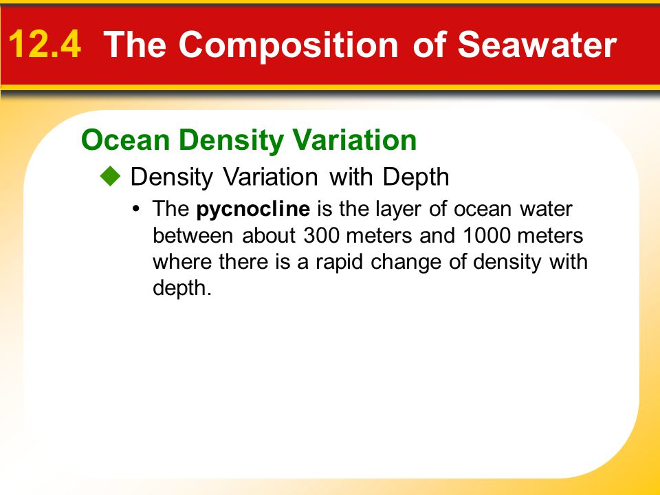 Ocean Density Variation  Density Variation with Depth 12.4 The Composition of Seawater The pycnocline is the layer of ocean water between about 300 meters and 1000 meters where there is a rapid change of density with depth.