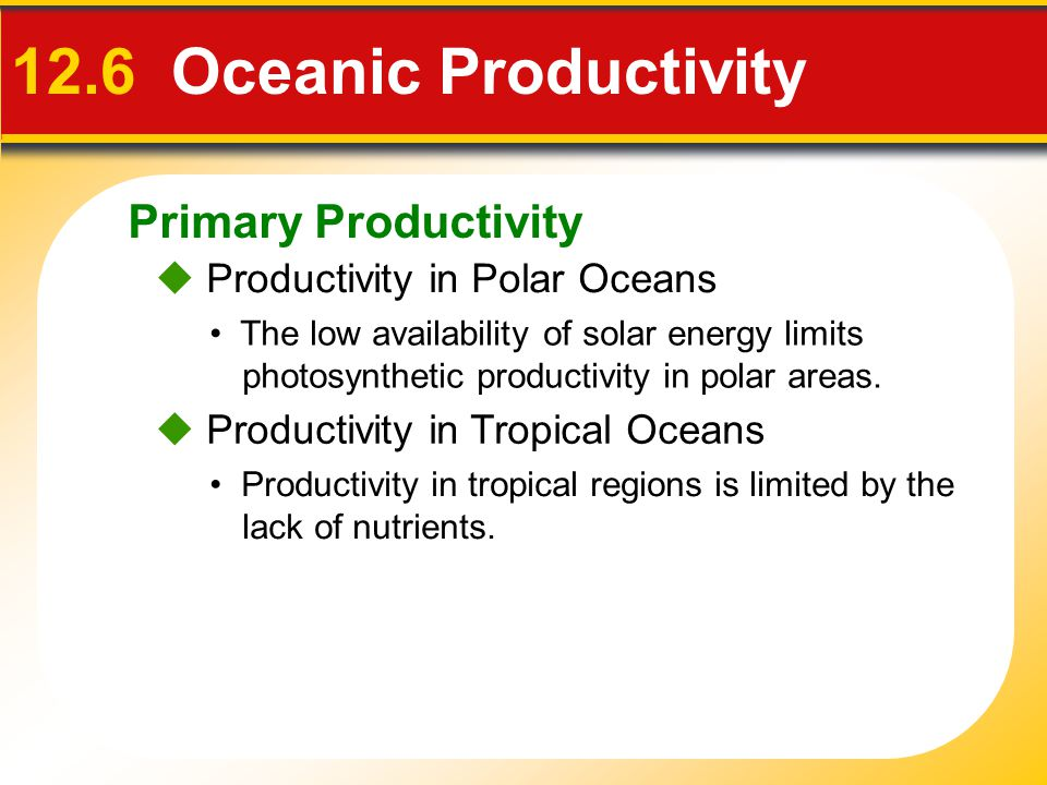 Primary Productivity  Productivity in Polar Oceans 12.6 Oceanic Productivity The low availability of solar energy limits photosynthetic productivity in polar areas.