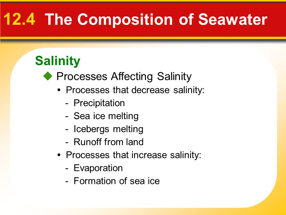 Salinity  Processes Affecting Salinity 12.4 The Composition of Seawater Processes that decrease salinity: Processes that increase salinity: - Precipitation - Runoff from land - Icebergs melting - Sea ice melting - Evaporation - Formation of sea ice