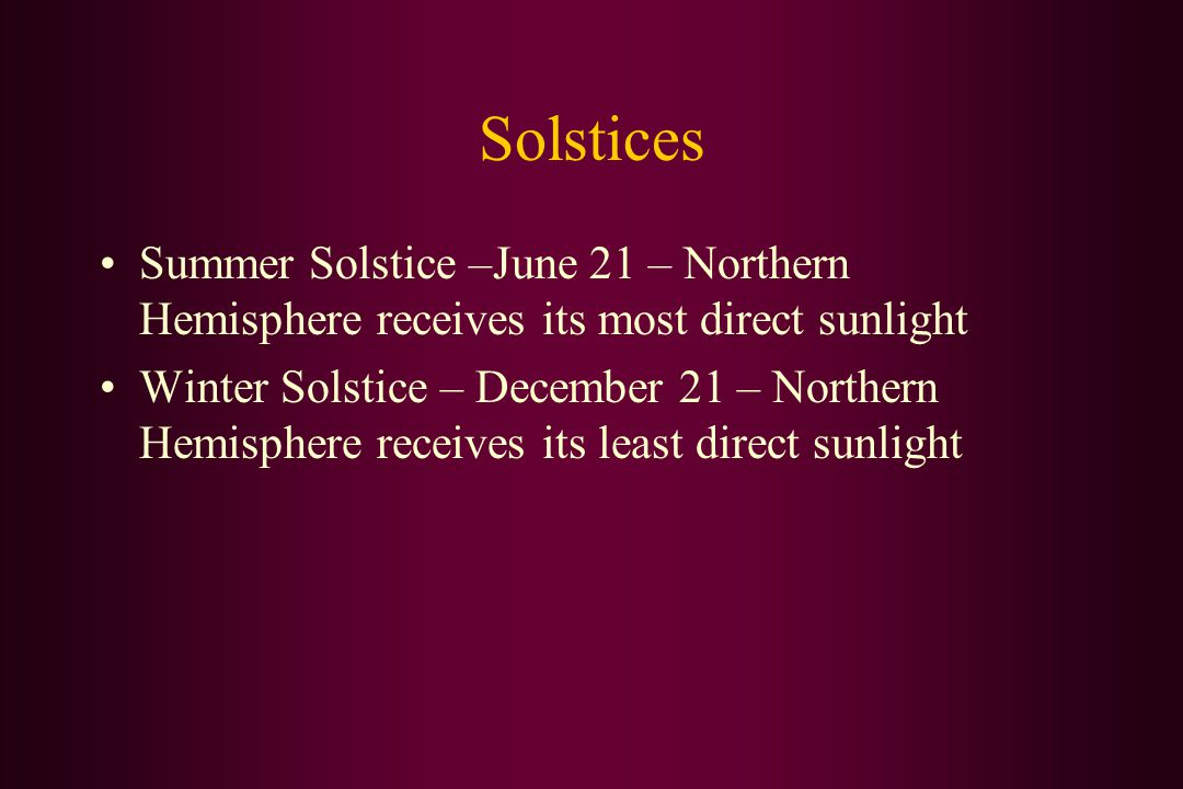 Solstices Summer Solstice –June 21 – Northern Hemisphere receives its most direct sunlight Winter Solstice – December 21 – Northern Hemisphere receives its least direct sunlight