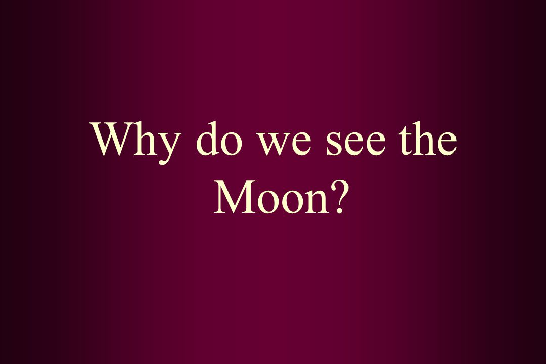 Why do we see the Moon