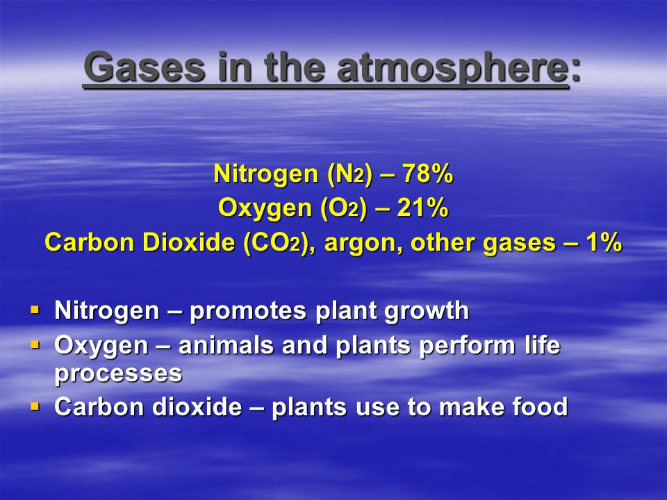 Gases in the atmosphere: Nitrogen (N 2 ) – 78% Oxygen (O 2 ) – 21% Carbon Dioxide (CO 2 ), argon, other gases – 1%  Nitrogen – promotes plant growth