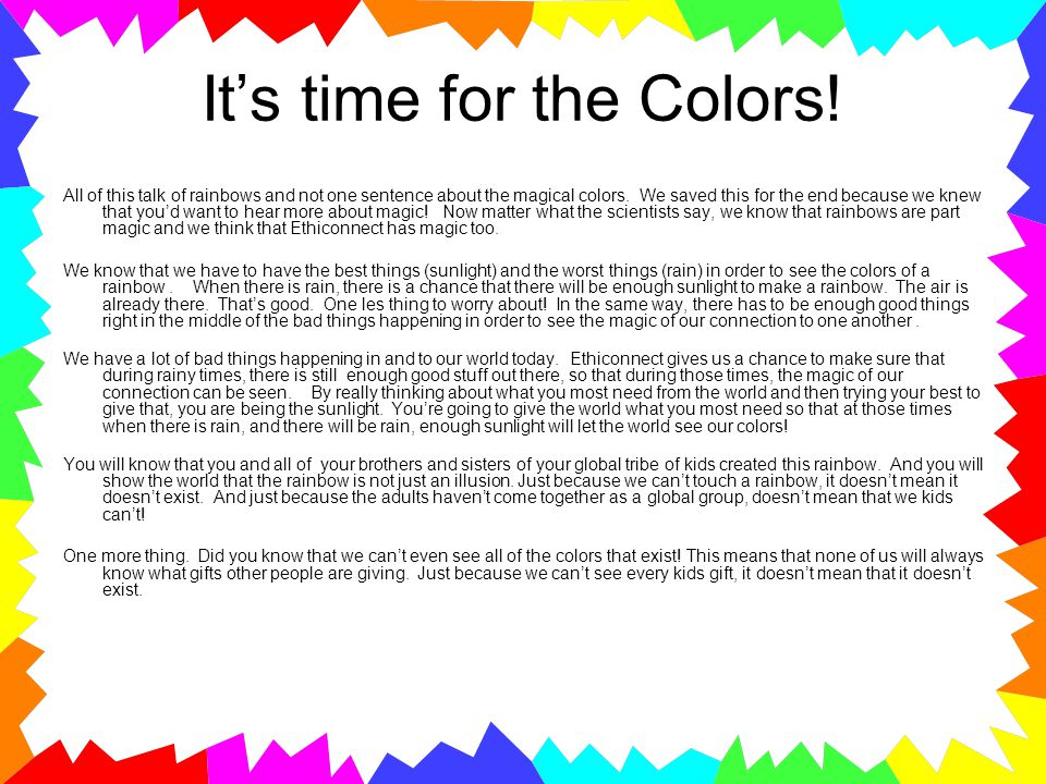 It's time for the Colors! All of this talk of rainbows and not one sentence about the magical colors. We saved this for the end because we knew that y