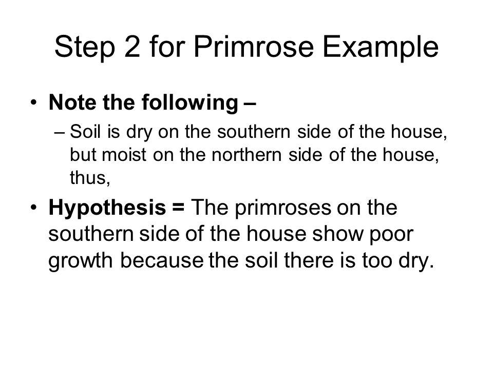 Step 2 for Primrose Example Note the following – –Soil is dry on the southern side of the house, but moist on the northern side of the house, thus, Hypothesis = The primroses on the southern side of the house show poor growth because the soil there is too dry.