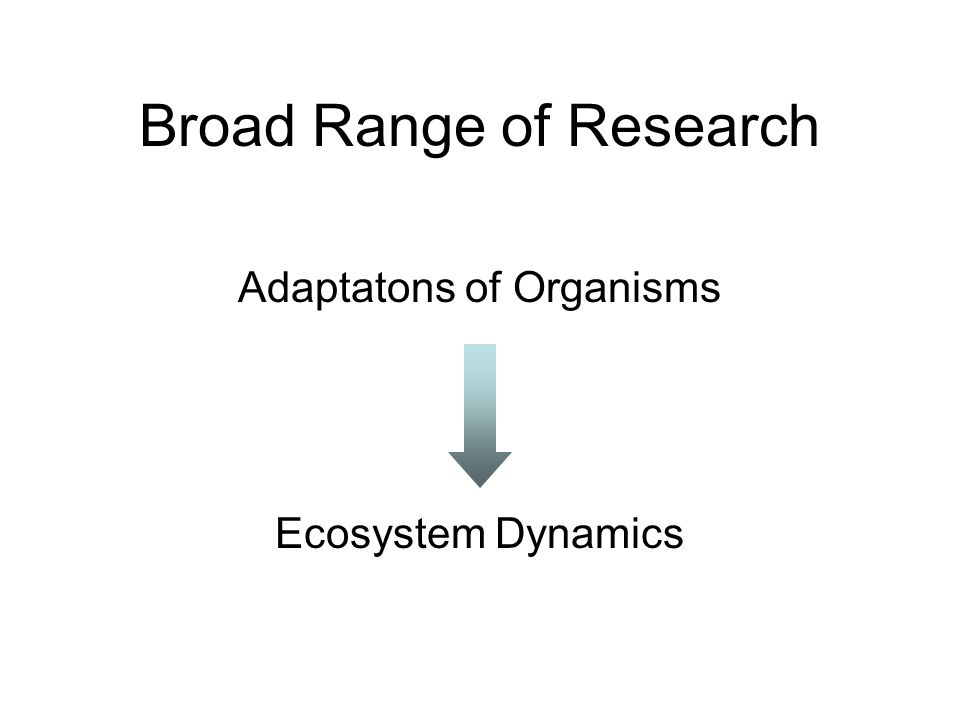 Broad Range of Research Adaptatons of Organisms Ecosystem Dynamics