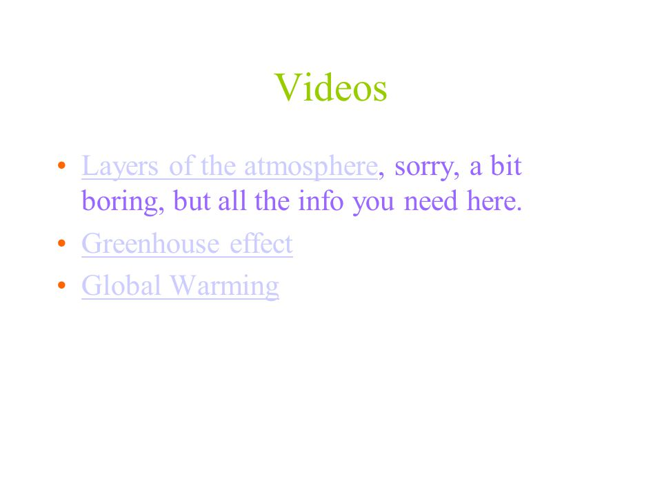 Videos Layers of the atmosphere, sorry, a bit boring, but all the info you need here.Layers of the atmosphere Greenhouse effect Global Warming