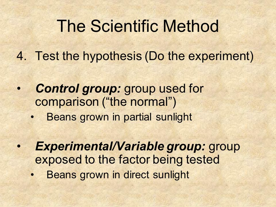 "The Scientific Method 4.Test the hypothesis (Do the experiment) Control group: group used for comparison (""the normal"") Beans grown in partial sunligh"