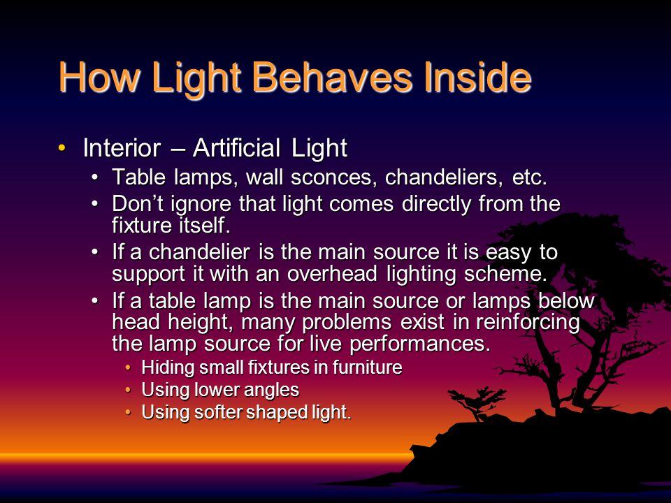 How Light Behaves Inside Interior – Artificial LightInterior – Artificial Light Table lamps, wall sconces, chandeliers, etc.Table lamps, wall sconces, chandeliers, etc.