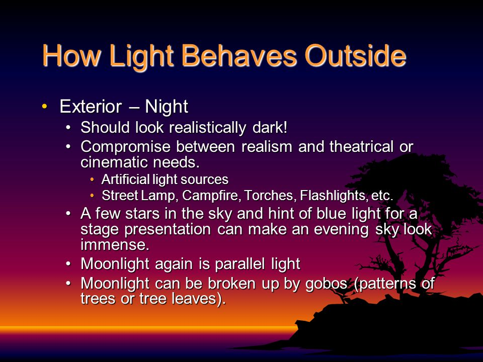 How Light Behaves Outside Exterior – NightExterior – Night Should look realistically dark!Should look realistically dark.