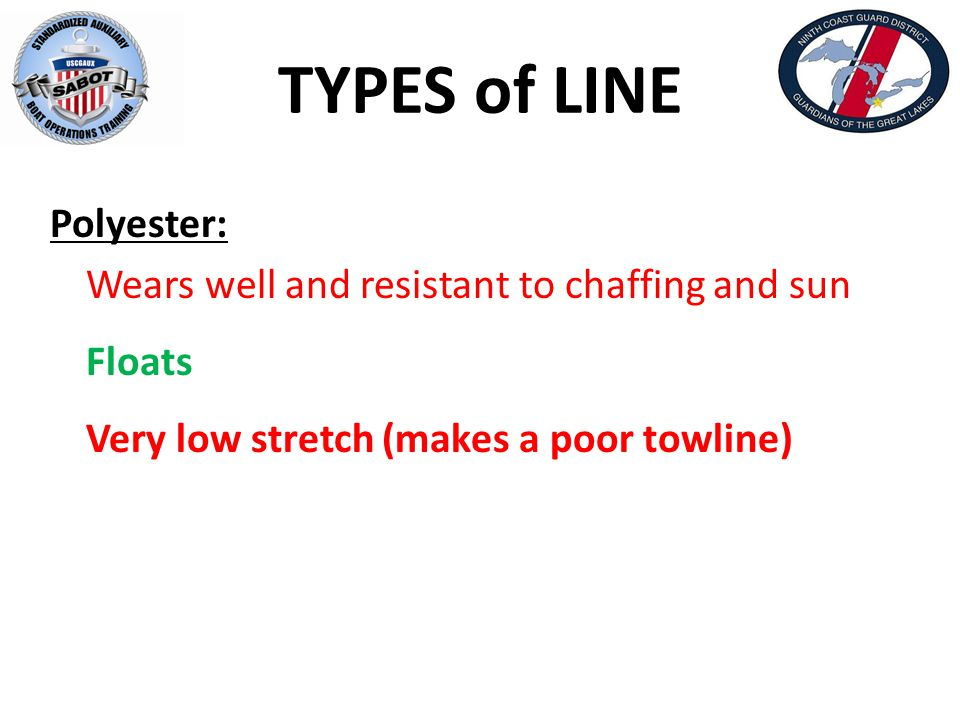 TYPES of LINE Polyester: Wears well and resistant to chaffing and sun Floats Very low stretch (makes a poor towline)