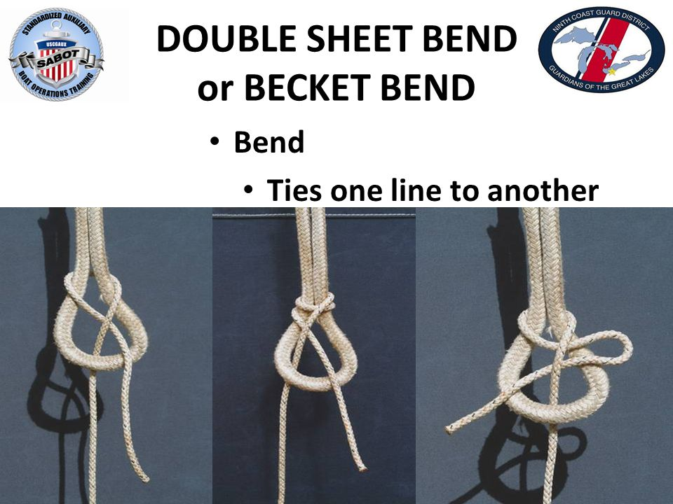 DOUBLE SHEET BEND or BECKET BEND Bend Ties one line to another